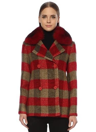NetWork NetWork 1071822 Pamuklu Ekoseli Ceket Yaka Çok Renkli Kadın Kaban Kırmızı
